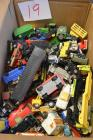 Box of Old Toy Tractors and Matchbox Cars