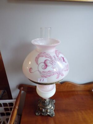 "Brass Base Lamp with Pink and White Body and Globe, 22"" High to Chimney, 9"" Diameter Globe"