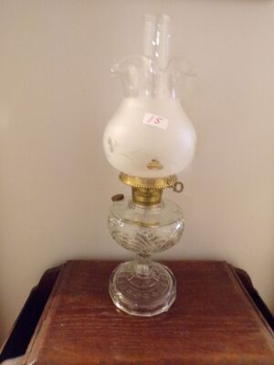 "Glass Base Lamp with Etched Fluted Globe, converted, 21"" High to Chimney, 6"" Diameter Globe"