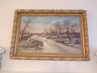 "Painting with Signature Miggie Ryanm 1889 29"" by 43"" Ornate Frame"
