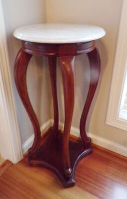 "Marble Top Plant Stand with Wood Base, 30"" High, 15"" Diameter."