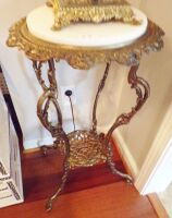 "Brass Stand With Marble Top Insert, 29"" Tall, 12"" Diameter."