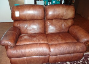 Brown Leather Loveseat - Reclines