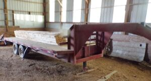 20 foot goose neck trailer with ramps, tandem axle. Click on the photo to see additional pictures.