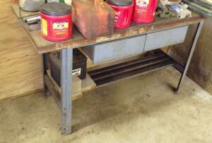 Heavy duty work bench with metal fram and base, wood top, 5 feet wide, 2 feet deep. Not the contents.