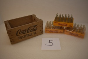 MINIATURE WOOD CRATE WITH (3) GLASS BOTTLE CASES