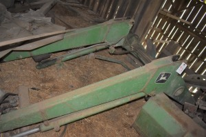 John Deere Front End Loader attachment with hay fork and bucket
