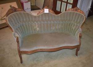 "Antique Victorian Loveseat with wheels-53"" L, 30"" H"