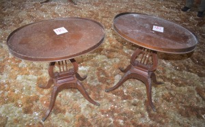 2 Oval Top Side Tables with claw feet