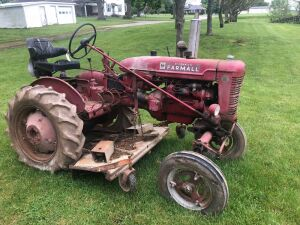 "Farmall ""Super A"" Tractor with Woods Belly Mower, this tractor is not running now."