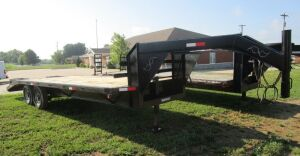 Kentucky gooseneck flatbed trailer, 23 feet, (18' flat, 5' dovetail), like new flat, no title.