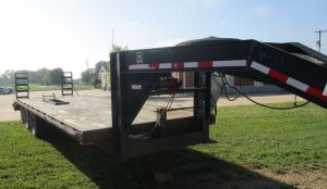 Cornpro gooseneck flatbed trailer, 24 feet, (20' flat, 4' dovetail), battery winch and ramps.