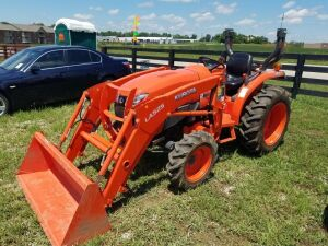 Kubota L3901 tractor with LA535 loader, 4WD, ROPS, 146 hours, Serial # 62236