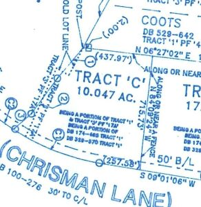 Tract C: 10.47 acres with good frontage on Chrisman Lane that is an ideal building site or small agricultural tract  You are bidding so much per acre and the sale price will be multiplied times the acreage.