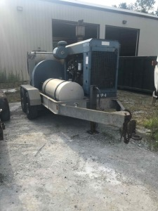 2003 High Volume (32 GPM) 15,000 PSI Water Blaster on Trailer W/MWB8 Jetstream-B-5.9 Caterpillar 3306 MOTOR, 17 ft Trailer