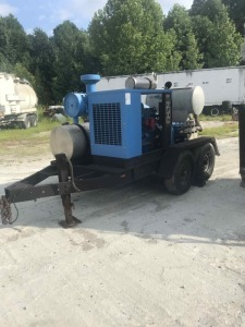 Lighter Blue Jetstream 10K PSI 27 GPM Water Blaster-B 5.9 Caterpillar Engine, 16 ft Trailer
