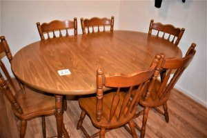 "Kitchen Table with 6 Chairs and 2 Leafs-65"" L x 42"" W with leafs"