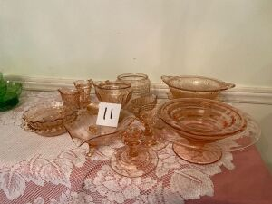 Set of Pink Depression Glass - 18pcs