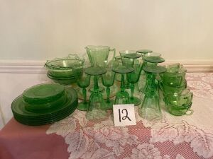 Set of Green Glassware - 45 pcs