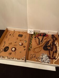 Box Lots of Costume Jewelry and Hat Pins