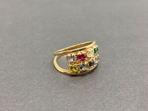 14K Yellow Gold Mothers Ring. 1.0 colored  stones. Ruby,Emerald,Peridot,Aquamarine, Blue Topaz,Cz,Amathyst./5.0gr.(MSRP-$720.00)