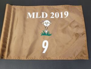 Pin Flag from the 2019 Michael Long Tournament. Used on hole #9, 14 inches by 20 inches.