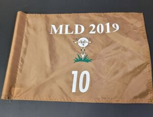 Pin Flag from the 2019 Michael Long Tournament. Used on hole #10, 14 inches by 20 inches.