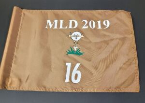 Pin Flag from the 2019 Michael Long Tournament. Used on hole #16, 14 inches by 20 inches.