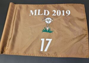Pin Flag from the 2019 Michael Long Tournament. Used on hole #17, 14 inches by 20 inches.