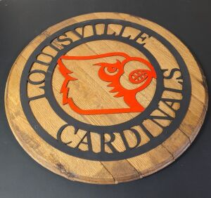 Louisville Cardinal themed custom barrel head, 21 inches in diameter from Kentucky Bourbon and Wood Design. See their attached business card