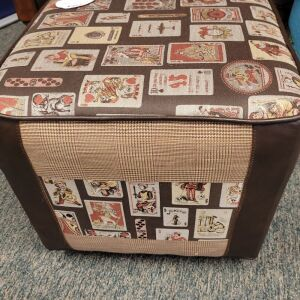 Expertly and Artistically Card Deck Ottoman from Funky Fibers. This modern ottoman is 19 inches square and 18 inches tall. This piece of furniture retails for nearly $350.00