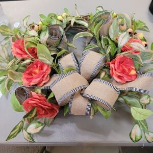Decorative Floral and Bow Door Wreath