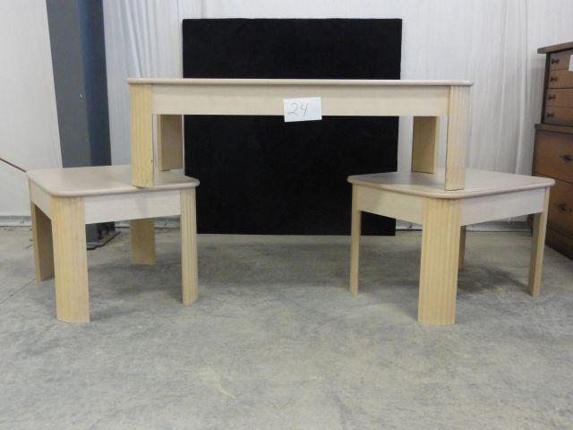 Light Colored Coffee Table And 2 End Tables 3 Pieces Total