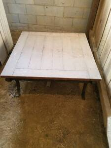 "​Wood Table With Wrought Iron Legs 40""x40"", 20"" Tall"
