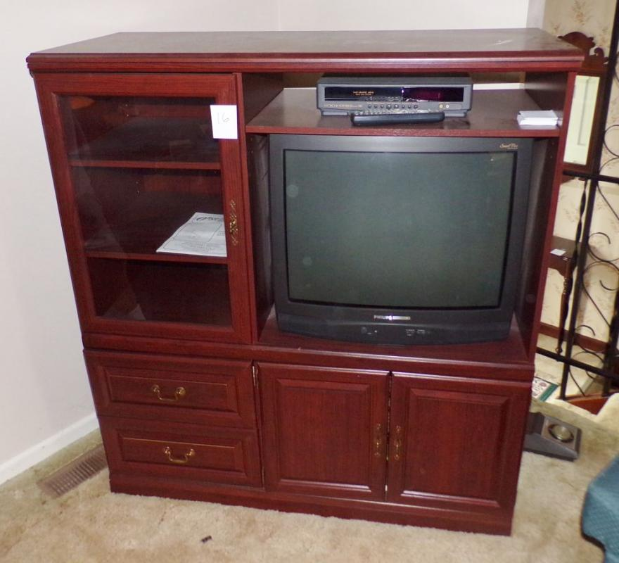 Entertainment Center With Tvvhs Player 2 Drawer 1 Glass Door 54