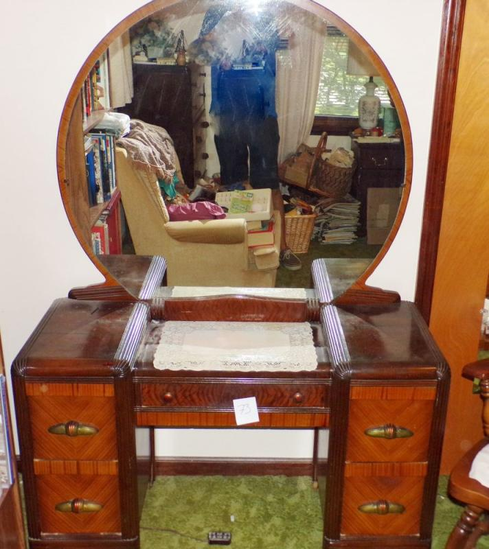 Tiger Maple Vintage Dresser With Round Mirror Matches Bed And Chest