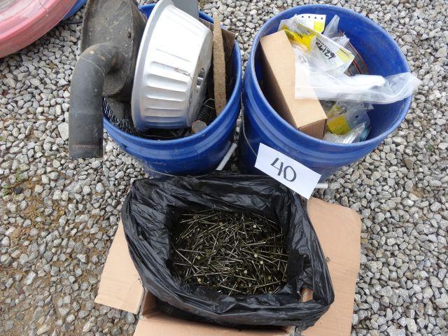 Box of nails, 2 buckets of John Deere parts